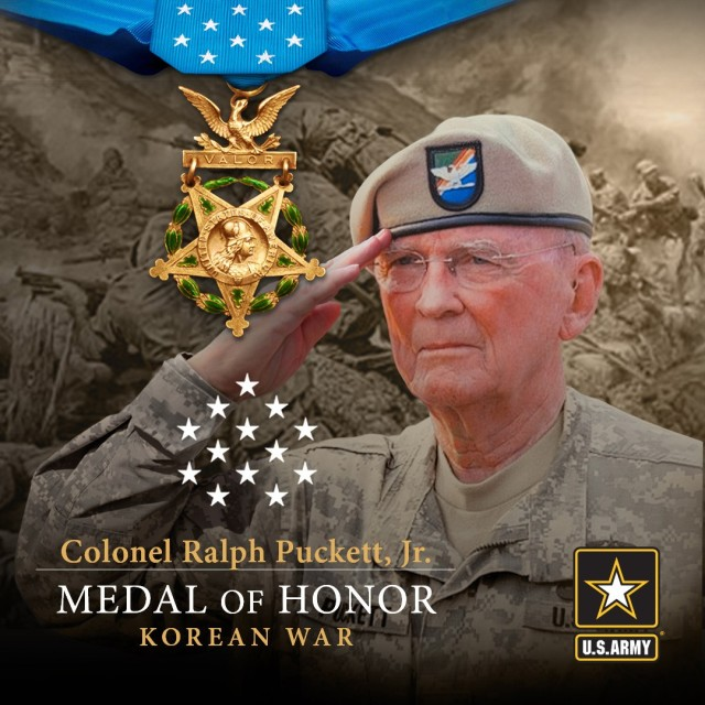 Then-1st Lt. Ralph Puckett Jr. led fellow Rangers and Korean Augmentation to the United States Army soldiers across frozen terrain under enemy fire to seize and defend Hill 205 in Unsan, North Korea. Puckett will receive the Medal of Honor on May 21, 2021, for going above and beyond the call of duty as the Eighth Army Ranger Company's commanding officer during a multiday operation that started on Nov. 25, 1950.