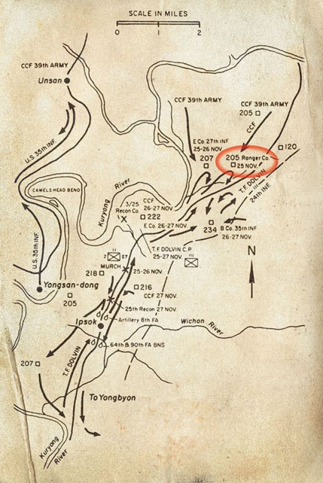 """The battle map of the 25th Infantry Division, Task Force Dolvin, during  Nov. 25-27, 1950. Then-1st Lt. Ralph Puckett Jr.'s unit, the Eighth Army Ranger Company, was assigned to the task force. The map is from the book """"Disaster in Korea, The Chinese Confront MacArthur."""""""