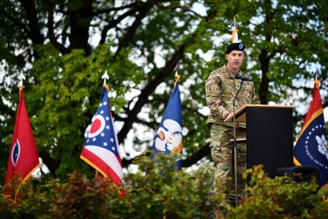 U.S. Army Garrison Stuttgart Commander, Col. Matt Ziglar, addresses distinguished guests shortly after taking command of the garrison.