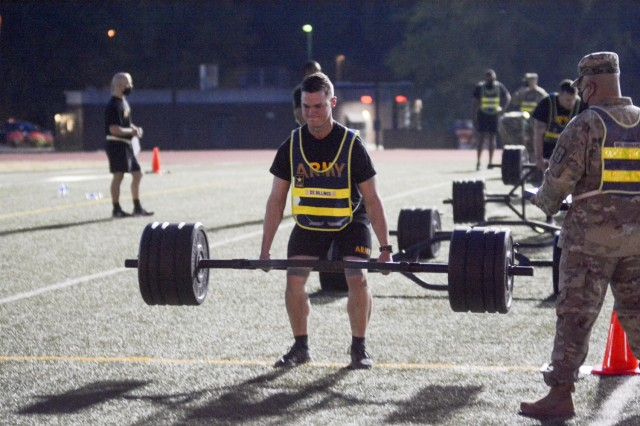 Staff Sgt. Tyler A. Billings, Best Warrior/Drill Sergeant of the Year competitor, executes the deadlift portion of Army Combat Fitness Test Monday morning at Williams Stadium, Fort Lee. The winner of the CASCOM competition will be announced at an award ceremony Thursday morning.