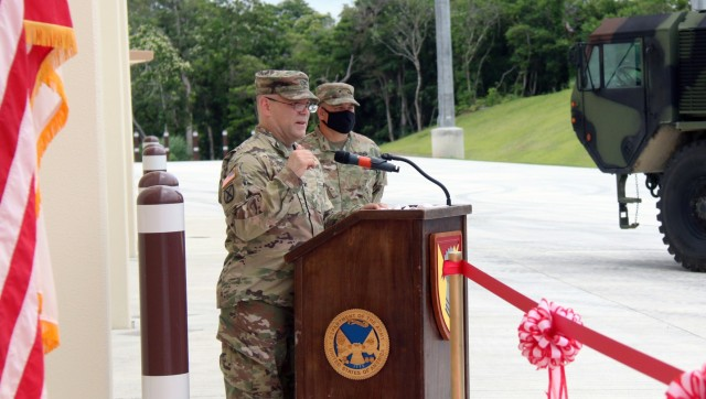 Col. Thomas J. Verell, Jr., Japan Engineer District commander, presents the world's most state-of-the-art, rapid reaction Patriot Missile Facility to the Soldiers of 1-1 Air Defense Artillery it Okinawa on May 19. The facility allows America to react to potential threats in the region faster than ever before.