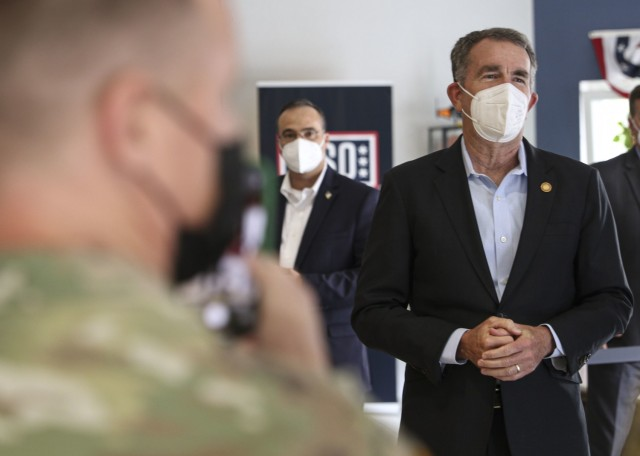 Gov. Ralph Northam, governor of Virginia, provides remarks to Virginia residents working at Landstuhl Regional Medical Center during a visit and tour at LRMC, May 20. Northam, a child neurologist, was previously stationed at LRMC during the height of Operation Desert Storm in the early 90s.