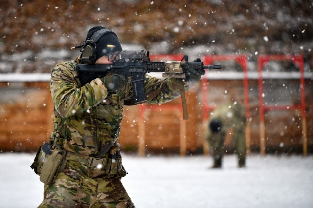 A 10th Special Forces Group soldier participates in a live fire training exercise at the Panzer Range Complex, Boeblingen, Germany, in January.