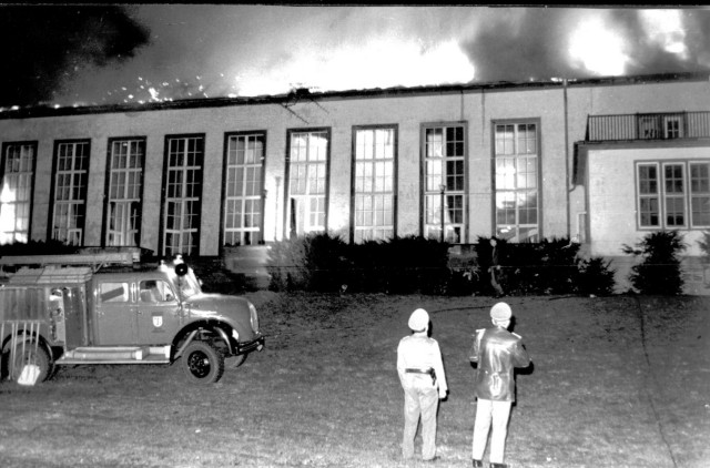 Baumholder Military Community firefighters try to save the Rheinlander Officer's Club on post in 1965. The Rheinlander was rebuilt and still stands today with The Tavern on the Rock bar, a ballroom and several other rooms for rent through DFMWR. (Courtesy Baumholder Public Affairs Office)