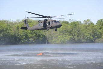 Pennsylvania helicopter crews practice using water buckets