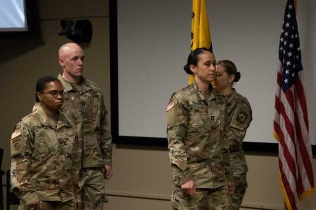 The Change of Command Ceremony begins with the Captains taking their positions during the Headquarters & Headquarters Detachment Change of Command Ceremony at Fort Knox, KY, on May 26, 2021.