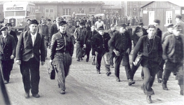Local National employees stream onto the post to begin a work shift after the Americans took over from the French in 1951. By 1954 there were more than 4,400 local national employees on post. (Courtesy of Baumholder Public Affairs)