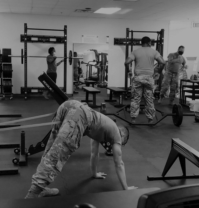 In February 2021, Soldiers and cadre participated in a stretching exercise led by 1st Lt. Andrew Schwartz, physical therapist at the Fort Bragg Soldier Recovery Unit, North Carolina (center front.) (Photo courtesy of Dean Bissey)