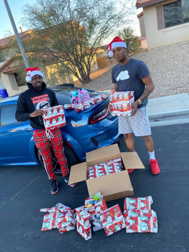 A Fort Irwin soldier and his veteran friend made Christmas 2020 better for dozens of families in the community by donating gifts at no charge.