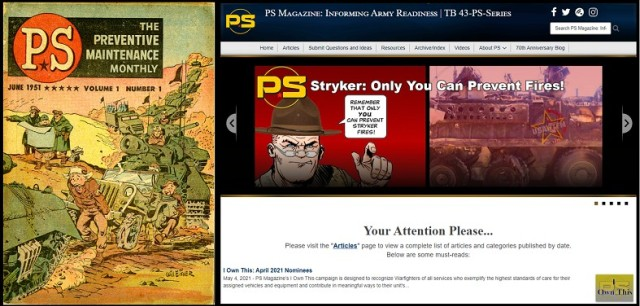 Seven decades of PS Magazine: the first issue, June 1951 (left) and its current website (right).