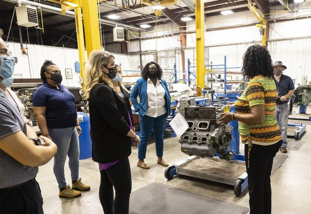 Marilyn Futrell, program specialist in the Pathways Program, speaks to members of the Army Materiel Command's Public Affairs and Protocol offices during a tour May 19.