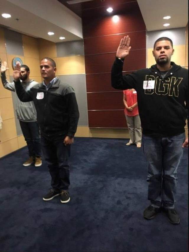 Sgt. Manuel Cortes (left) and Spc. Hector Quinones saying their oath together in 2018 and 2021.