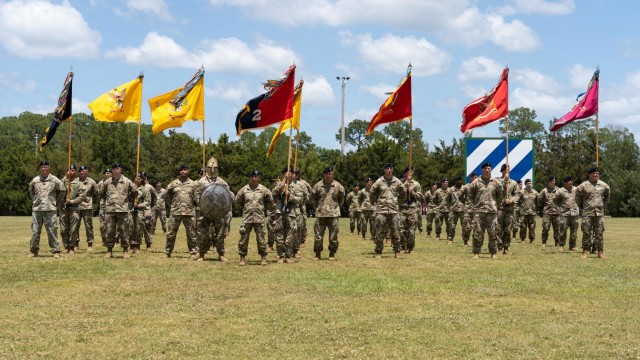 Soldiers assigned to 2nd Armored Brigade Combat Team, 3rd Infantry Division, stand in formation before  a close out ceremony for Marne Week 2021 May 20 on Fort Stewart, Georgia. The closing ceremony is the culminating event of Marne Week, which was an opportunity for Dogface Soldiers past and present to celebrate being a member of the 'Rock of the Marne.'
