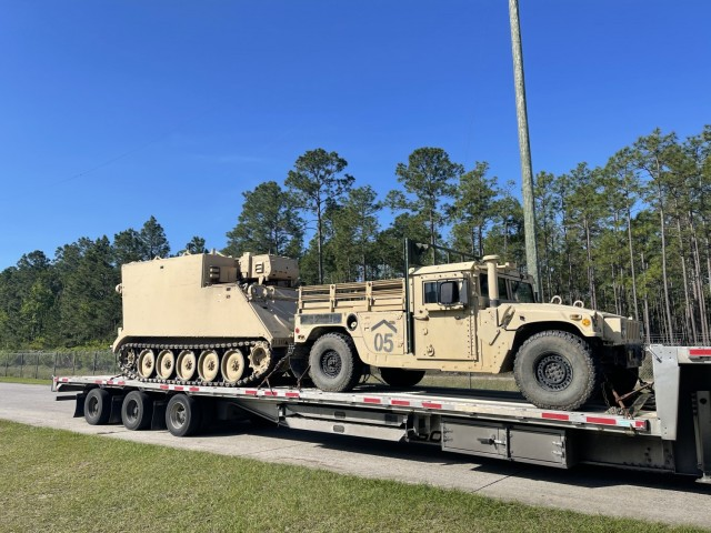 3rd Battalion, 67th Armor Regiment, 2nd Armored Brigade Combat Team, 3rd Infantry Division, loaded and prepped one M1068 and one M1152A1 RETRANS HMMWV vehicle as part of the initial shipment on April 27, 2021 to Taunton, Massachusetts, the General Dynamics Mission Systems facility. This was completed for the design and installation of the Army's pilot On-The-Move communications effort. (U.S. Army photo by Maj. Todd Klinzing-Donaldson)