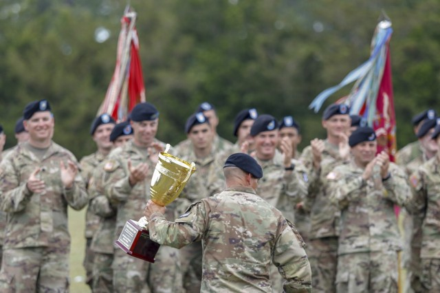 Dogface Soldiers assigned to 2nd Armored Brigade Combat Team, 3rd Infantry Division, celebrate winning 'The Marne Cup' during the 3rd Infantry Division Marne Week Closing Ceremony on Fort Stewart, Georgia, May 20, 2021. Marne Week displays the fighting spirit, tenacity and warrior ethos that is the Dogface Soldier, carrying on the unit's proud history and lineage. (U.S. Army photo by Spc. Savannah Roy/ 3rd Combat Aviation Brigade, 3rd Infantry Division)