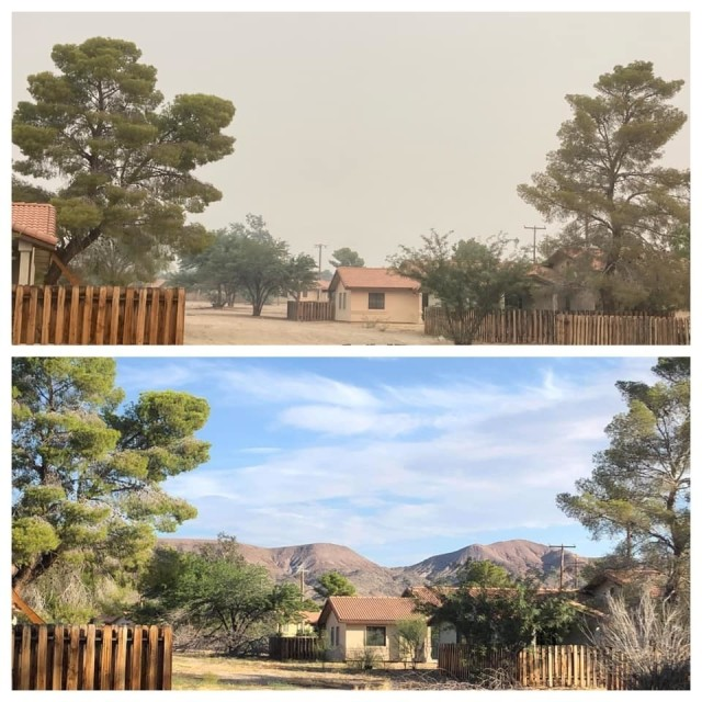 Fort Irwin resident, Amanda McMaster took these photos on different days to show the effect of the amount of smoke that crept onto the installation from the California wildfires burning across the state. The mountains, forestry and skyline were no longer visible. Courtesy of Amanda McMaster.