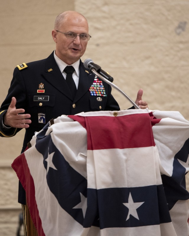 Gen. Ed Daly, commanding general of the U.S. Army Materiel Command, speaks during a relinquishment of command and retirement ceremony May 27. (Photo by Linda Lambiotte, ASC Public Affairs)