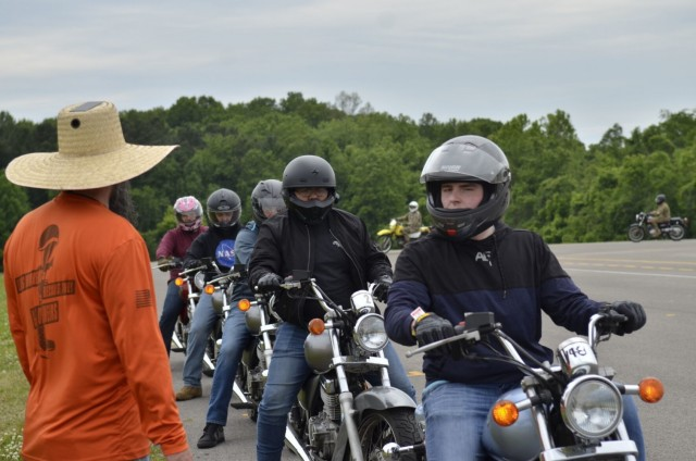 Soldiers prepare for their next exercise during the Basic Rider Course hosted May 17 at the Installation Safety Office. The Fort Campbell Installation Safety Office hosts motorcycle safety courses year-round, but those efforts are especially important during National Motorcycle Safety Awareness Month in May.