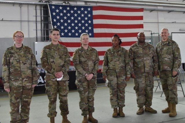 WIESBADEN, Germany – Brig. Gen. Jed Schaertl made a point of thanking Army Reserve Soldiers who worked during the Armed Services Blood Program donation event at Clay Kaserne, May 18.  From left to right are Spc. Jennifer Nelson, Spc. Thomas Reid, Pfc Skyler Nisbet, Staff Sgt. Claudia Brooks, Staff Sgt. Nkruma Alladin and Brig. Gen. Jed Schaertl.