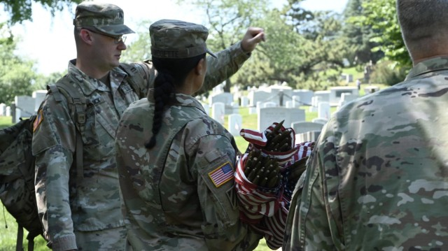 """Chaplain honor the fallen during """"Flags In"""" at Chaplains Hill"""