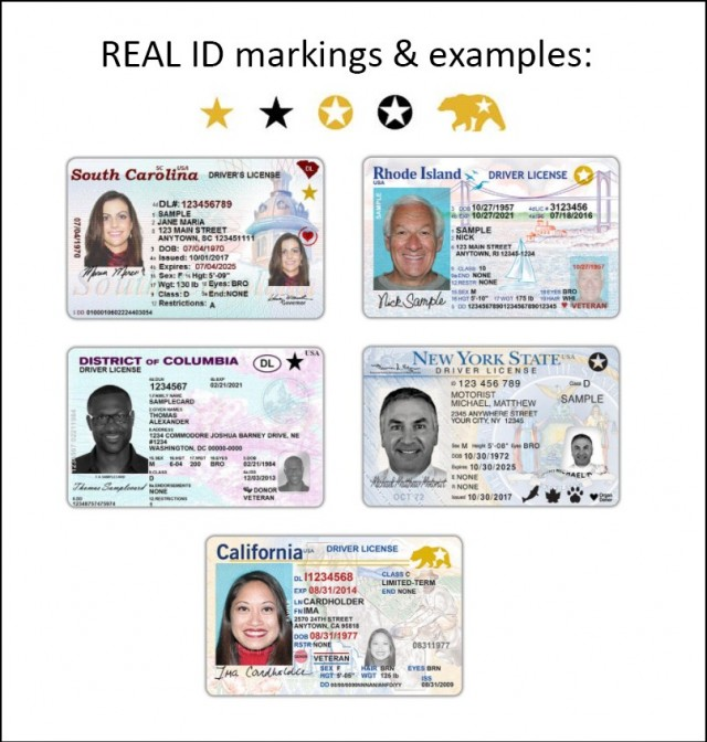 Examples of REAL IDs, which are easily recognized by definitive markings in the upper top portion of the ID cards.