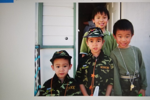 Specialist Ryan Do (far right), Headquarters and Headquarters Battery, 101st Division Artillery, 101st Airborne Division (Air Assault), as a child with his older brother Nathan (back) and cousins Kai (left) and Cole (center). Do dressed up as a Soldier often as a child, so much that his parents joked that he must have been a Soldier in a past life.