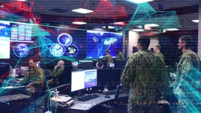 A graphic highlights the watch floor of the U.S. Navy, U.S. Fleet Cyber Command/U.S. 10th Fleet.