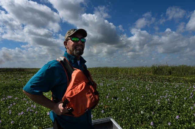 Keith Mangus, Applied Aquatics, project manager with 24 years or expertise in the field and a love of wildlife photography is dedicated to conservation. Mangus, views the Spray Tracker Platform developed by FWC's Andrew Dew detects and collects the spray path of the licensed applicators out in the field in real time.