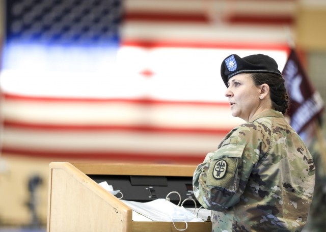U.S. Army Lt. Col. Elizabeth Gum, outgoing commander, U.S. Army Health Clinic Baumholder (BAHC), provides remarks during a change of command ceremony where Gum relinquished command of BAHC to U.S. Army Lt. Col. Mark Jones at Baumholder, May 26. U.S. Army Health Clinic Baumholder provides ambulatory care for Soldiers, their families, and others, and offers acute and chronic care of pediatric and adult patients, physical examinations, health-related career screening and immunizations, non-operative gynecological diagnosis and treatment, minor surgical procedures and surgical follow-up and newborn care. Baumholder Army Health Clinic also provides specialty care services to include behavioral medicine, pharmacy, optometry, radiology and physical therapy.
