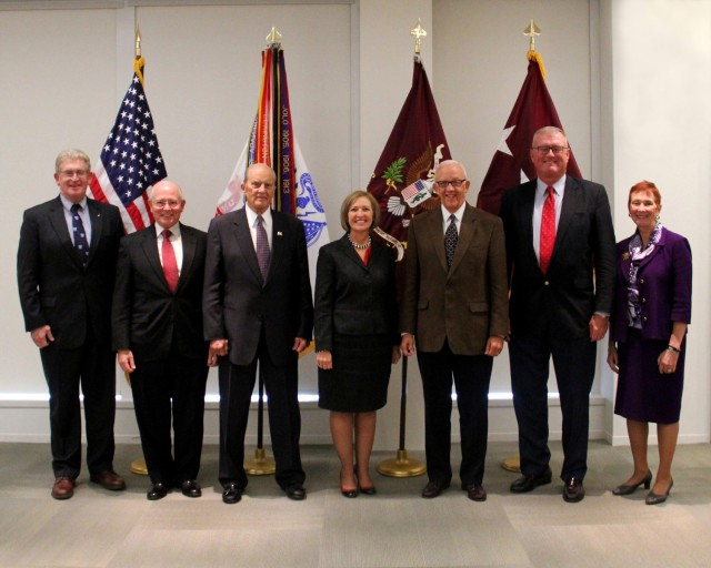 """Army Surgeons General turned out in support of the Former AMEDD Senior Strategic Leaders meeting on Oct. 20, 2014. From left to right (with dates as Surgeon General): Lt. Gen. (Ret.) Eric B. Schoomaker, Dec 2007- Dec 2011; Lt. Gen. (Ret.) James B. Peake; Sept 2000 - July 2004; Lt. Gen. (Ret.) Alcide M. LaNoue, Oct 1994 - Oct 1996; Lt. Gen. Patricia Horoho, Dec 2011 - Present; Lt. Gen. (Ret.) Ronald R. Blanck, Oct 1996 - June 2000; Lt. Gen. (Ret.) Kevin C. Kiley, Oct 2004 - March 2007; and Maj. Gen. (Ret.) Gail Pollock (acting Surgeon General), March 2007 – Dec 2007. The leaders considered issues including transforming to a high reliability organization, how Army Medicine could help to enable optimization of Soldier performance to create """"elite Soldier athletes"""", how to incentivize health with a long-term goal of reversing the obesity predictions of 2030, and other current matters relevant to Army Medicine and health and resilience of the Army. Courtesy photo."""