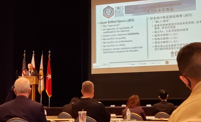 Steve Karwan from the U.S. Army Corps of Engineers - Japan Engineer District addresses the crowd during the Bilateral Senior Engineers Conference being held at Yokota Air Base in Fussa, Japan.