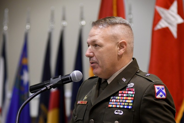 Combined Arms Center-Training Deputy Commanding General Brig. Gen. Charles Lombardo speaks to the audience during his promotion ceremony May 28, 2021 at the Frontier Conference Center, Fort Leavenworth, Kan. Photo by Tisha Swart-Entwistle, Combined Arms Center-Training.
