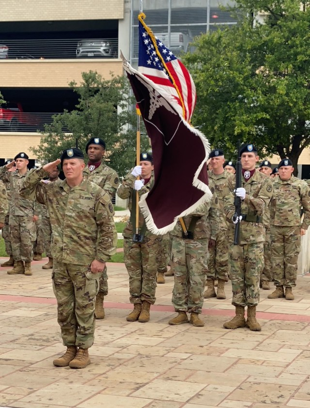 Maj. Thomas Horal, troop command executive officer, stands stands in formation during Troop Command change of command ceremony at CRDAMC May 28