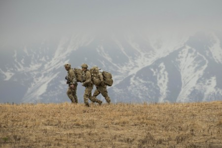 Soldiers wrap up a joint forcible entry operation during Northern Edge at Fort Greely, Alaska, May 11, 2021. The exercise is designed to improve joint combat readiness.