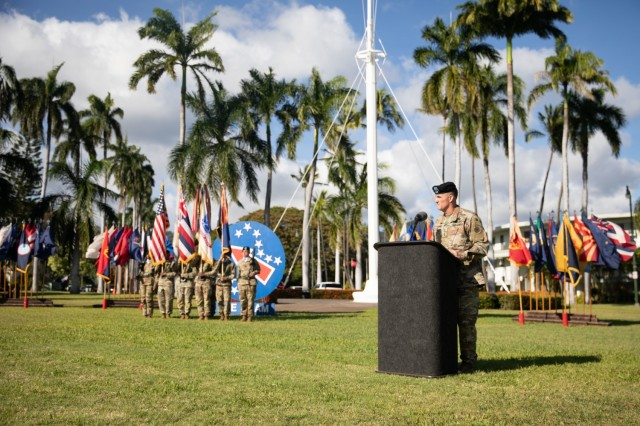 U.S. Army Gen. Charles A. Flynn, incoming commanding general of U.S. Army Pacific, gives remarks during the USARPAC change of command ceremony June 4, 2021, at Fort Shafter, Hawaii. (U.S. Army photo by Sgt. 1st Class Monik M. Phan)