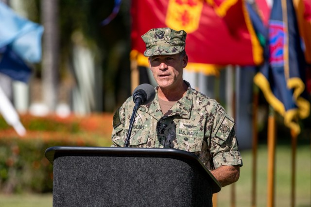 U.S. Navy Adm. John C. Aquilino, commander, U.S. Indo-Pacific Command, gives his remarks at the U.S. Army Pacific change of command ceremony between Army Gen. Paul J. LaCamera, outgoing U.S. Army Pacific commander, and Gen. Charles A. Flynn, incoming U.S. Army Pacific commander, at Fort Shafter, Hawaii, June 4, 2021. (U.S. Army photo by Sgt. 1st Class Monik M. Phan)
