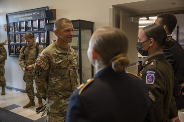 The 16th Sgt. Maj. of the Army, Michael Grinston, meets with Soldiers at Fort Drum's Noncommissioned Officer Academy at Fort Drum, NY, on Jun. 2, 2021.