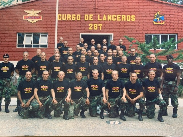 2nd Lt. Mauricio Garcia, second row 3rd from left, and his Lancero classmates, pose for a class photo at the Lancero school in Tolemaida, Colombia. Garcia, now a Chief Warrant Officer 3 with the U.S. Army, is once again deployed to Tolemaida Army Base as part of a technical advising team from U.S. Army Security Assistance Command's Fort Bragg-based training unit, the Security Assistance Training Management Organization. (Courtesy photo)