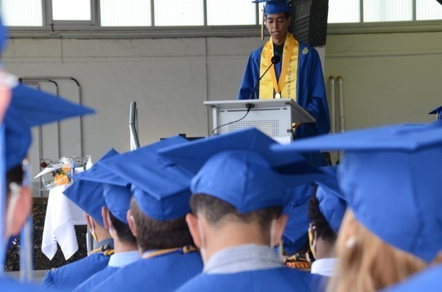 Salutatorian, Jaden Anderson addresses his classmates during the 2021 WHS graduation held at the Wiesbaden Army Airfield on June 4, 2021