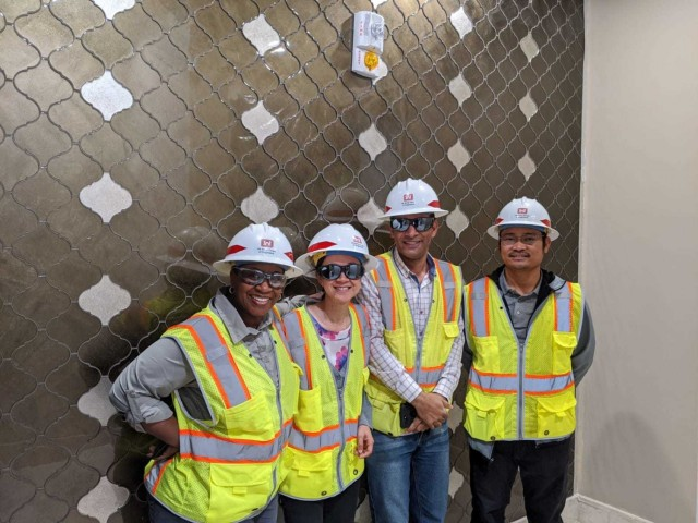 Transatlantic Middle East District Program Manager Kim Sanders with members of the U.S. Army Corps of Engineers Transatlantic Middle East District Qatar Resident Office visiting the site of one of her projects in the State of Qatar.