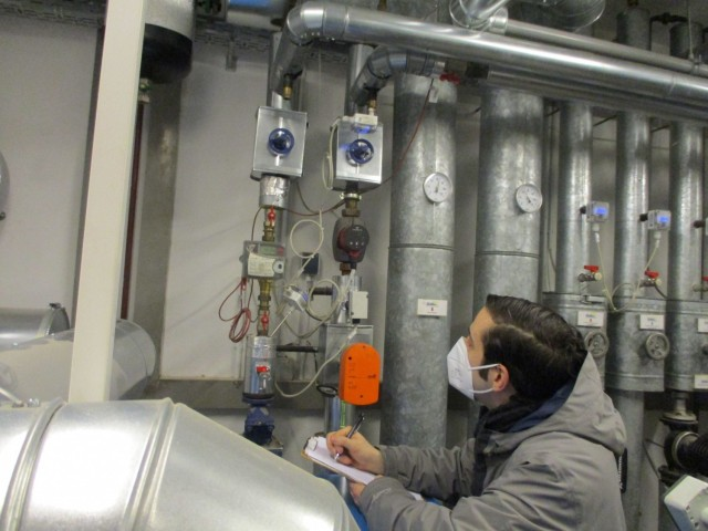 Salvatore Corcione, resource efficiency manager at U.S. Army Garrison-Ansbach, performs a utility check at one of the facilities on the installation.Contracted through the U.S. Army Engineering and Support Center, Huntsville's Resource Efficiency Manager program, REMs are subject-matter experts enhancing installation energy program effectiveness by identifying projects and practices to reduce energy and water costs.