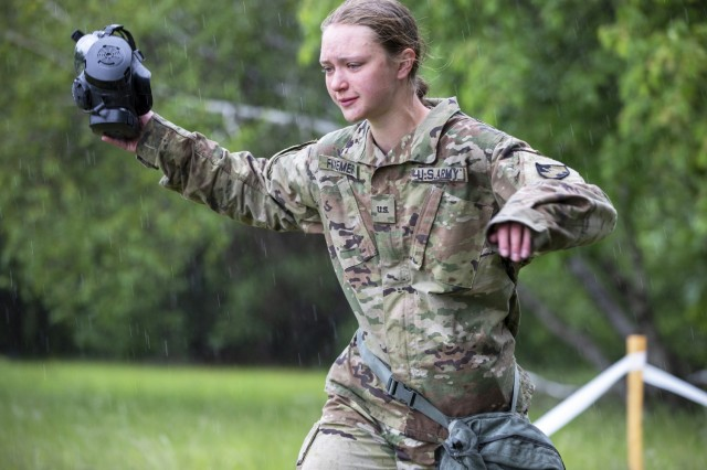 Cadets from Cadet Field Training's 3rd Company conducted Chemical, Biological, Radiological and Nuclear equipment familiarization training as a part of Cadet Summer Training at West Point May 29.(U.S. Army photo by Sgt. Gregory Muenchow)