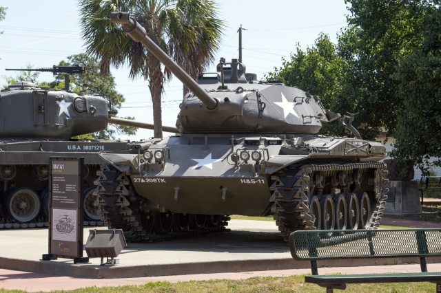 The M41A1 Walker Bulldog light tanks from the 27th Armored Division's (New York National Guard), 208th Tank Battalion sits outside the Basic Combat Training Museum on Fort Jackson. A retiree recently found it was the same tank he crewed in the 1950s.