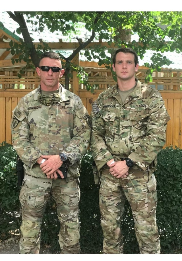 Brig. Gen. Masaracchia with his son (then) 1st Lt. Corey Masaracchia while both were serving in Afghanistan in 2020. Following in his father's footsteps, Capt. Masaracchia is an infantry officer assigned to 1st Battalion, 75th Ranger Regiment.