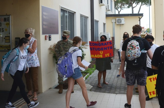 VICENZA, Italy - Vicenza High School students leave school June 10, 2021, at the end of a full year of classes held despite the COVID-19 pandemic.  While many Department of Defense Education activity schools had to close at some point due to the virus, schools in Vicenza remained open for in person instruction the entire year.