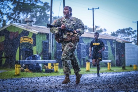 Soldiers complete a 5K in preparation for a jungle operations training course at Schofield Barracks, Hawaii, May 14, 2021.