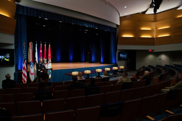 Army Chief of Staff Gen. James C. McConville provides remarks during the Army's 246th birthday cake-cutting ceremony at the Pentagon, Arlington, Va., June 14, 2021.