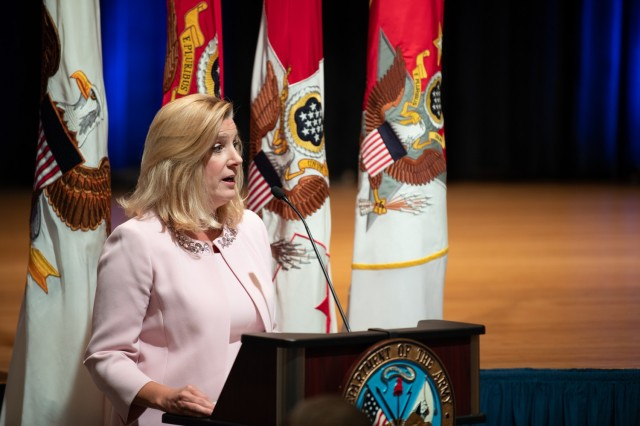 Secretary of the Army Christine E. Wormuth celebrates the Army's 246th birthday by hosting a mass reenlistment ceremony and cake cutting at the Pentagon, Arlington, Va., June 14, 2021.