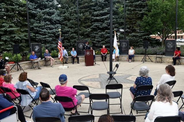 Residents, veterans and local leaders of Buffalo Grove participate in their annual Flag Day celebration at Veterans Park on June 14th. Army Reserve Lt. Col. Keith A. Cowan, 3rd Battalion, 335 Infantry Regiment, 85th U.S. Army Reserve Support Command, participated in the ceremony as the keynote speaker. (U.S. Army Reserve photo by Staff Sgt. Erika Whitaker)