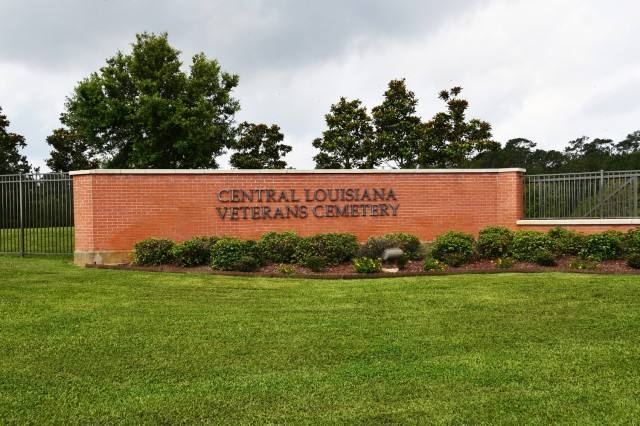 Beautiful landscaping greets you when entering the grounds of the Central Louisiana Veterans Cemetery.